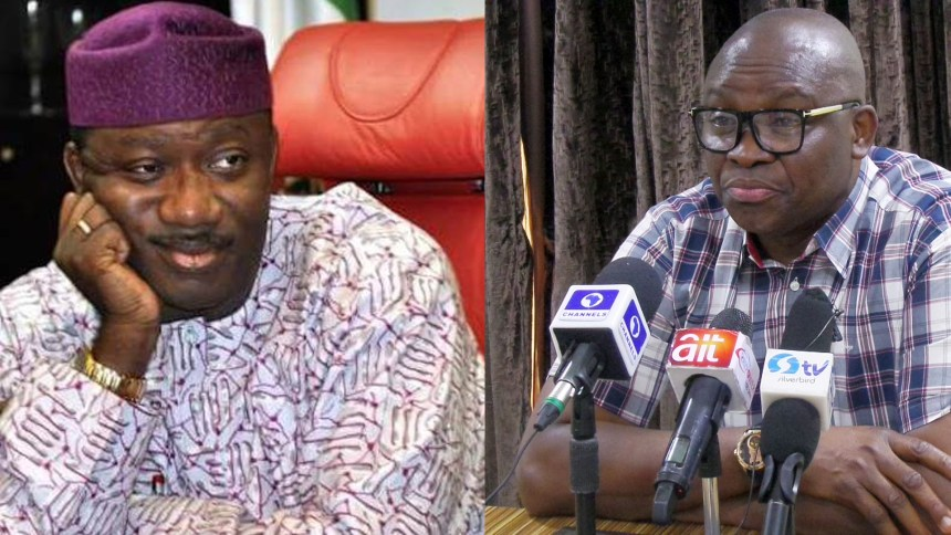 Fayose and Fayemi used to illustrate the story. [Photo credit: NewsTimes Nigeria]