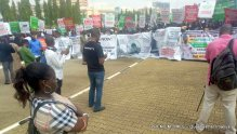Protesters at the National Assembly gate