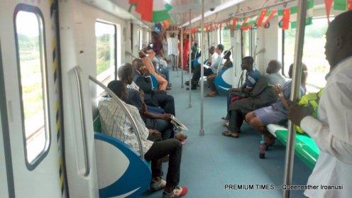 The interior of the train