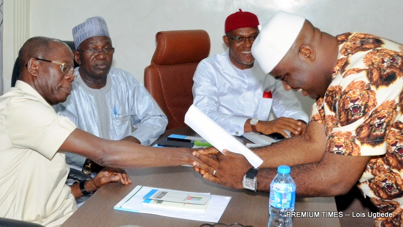 The Imo APC Chairman, Daniel Nwafor being sworn-in at the APC Headquarters