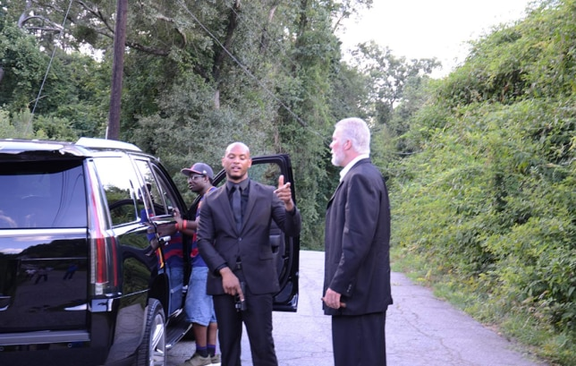 Ja Randell and Kevin Nash on the set of 'Klippers'