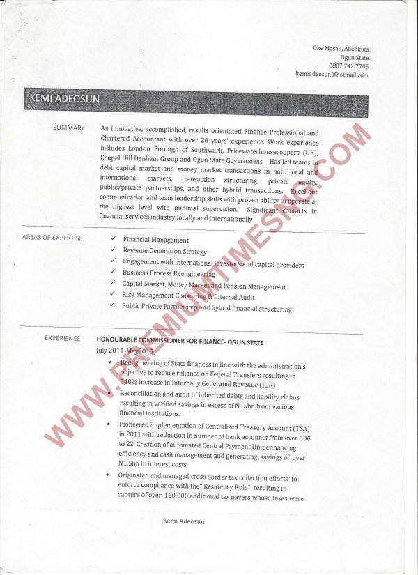 Kemi Adeosun's CV front page