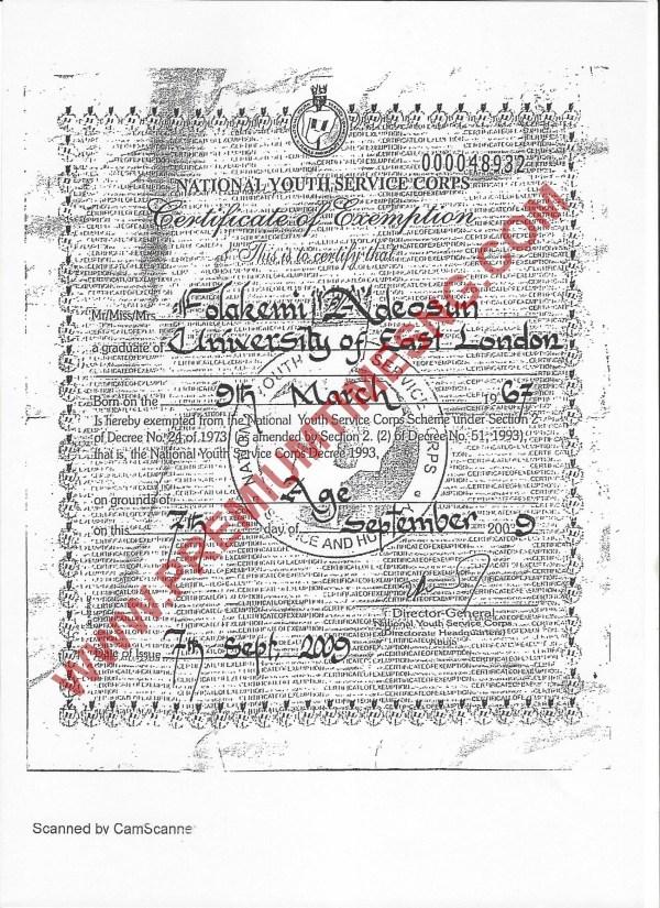 Kemi Adeosun Fake NYSC exemption certificate