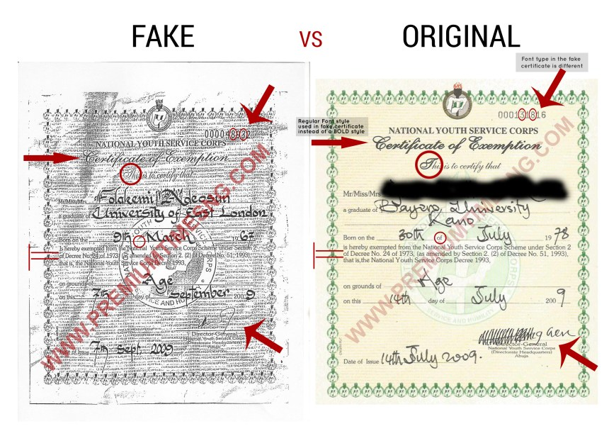The fake NYSC exemption certificate alongside an original exemption certificate issued the same year.