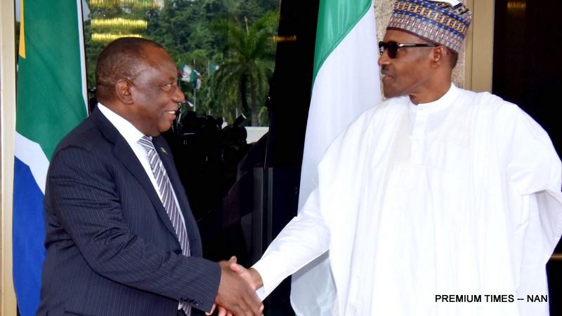 President Muhammadu Buhari (R) welcoming visiting President Cyril Ramaphosa of South Africa at the Presidential Villa in Abuja on Wednesday (11/7/18) 03540/4/72018/Callistus Ewelike/NAN