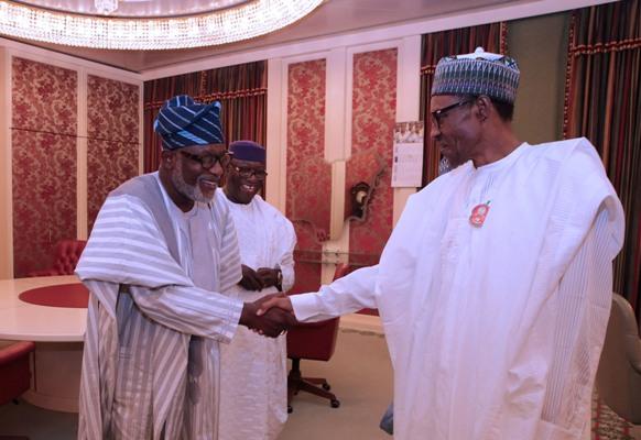 President Muhammadu Buhari and Ondo State gov. Rotimi Akeredolu. [Photo credit: News Agency of Nigeria (NAN)]
