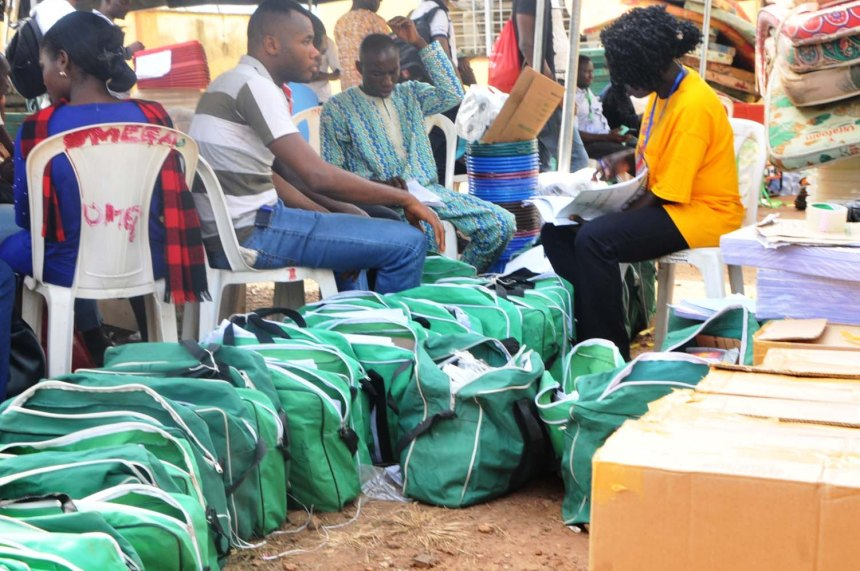 INEC officials arranging electoral materials for upward distribution for the July 14th Ekiti State Governorship Election at the INEC office in Ado Ekiti on Friday (13/7/18). 03759//13/7/2018/Timothy Adeogodiran/JAU/ICE/NAN