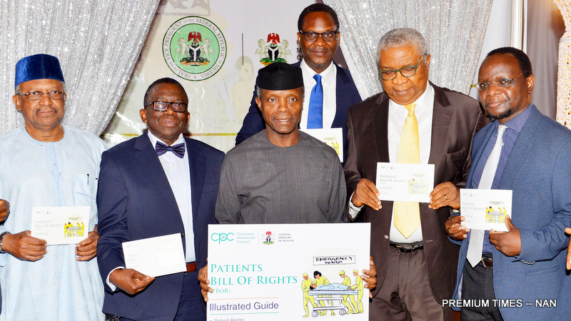 From left: Minister of State for Health, Dr Osagie Ehanire; Minister of Health, Prof. Issac Adewole; Vice President Yemi Osinbajo; Director-General, Consumer Protection Council (CPC), Mr Babatunde Irukera; Chairman, Board of Directors, CPC, Emmanuel Nwankpa; and Country Director, World Health Organization, Mr Ress Mpazi, during the launch of the 'Patients' Bill of Rights', at the Banquet Hall of the State House in Abuja on Tuesday (31/7/18). 04114/31/7/2018/Ibrahim Sumaila/BJO/NAN