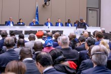 President Muhammadu Buhari addresses the International Criminal Court (ICC), today in The Hague