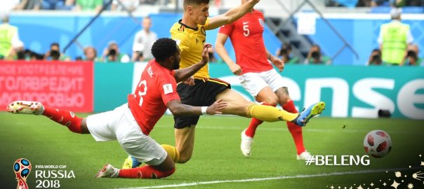 Thomas Meunier volleys the ball into the back of the net to put Belgium in front