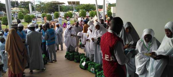 Kogi state pilgrims being screened in preparation for first Hajj 2018 flight at Nnamdi Azikiwe International Airport Abuja. [Photo credit: NAHCON]