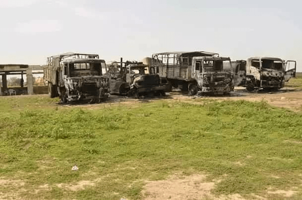 Nigerian military vehicles torched by Boko Haram fighters during an attack at Jilli, Borno state.