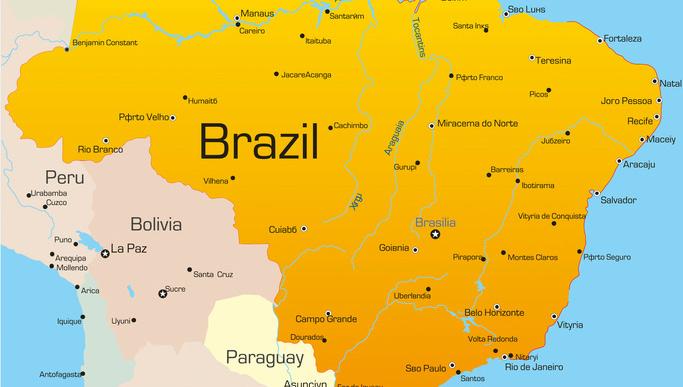 Brazil map used to illustrate the story. [Photo credit: Samba – Taste of Brazil]
