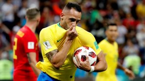 Renato Augustus with a goal for Brazil (Photo Credit: Reuters)