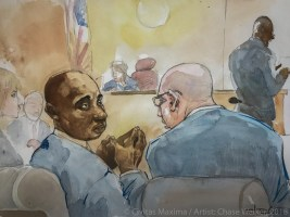 The court drawing is Woewiyu and his lawyers.