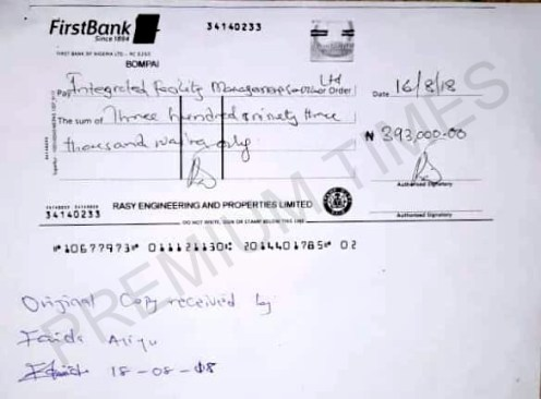 Receipt of payment made by Kwankwaso for the use of the Eagles Square in Abuja.