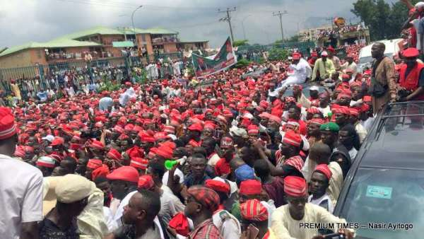 Crowd as Rabiu Kwankwaso declaring to run for President