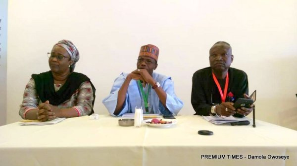 Judith Ann Walker, ED dRPC; Abdullahi Bulama, Director planning and research; and Emmanuel Abanida, Senior technical advisor, dRPC.