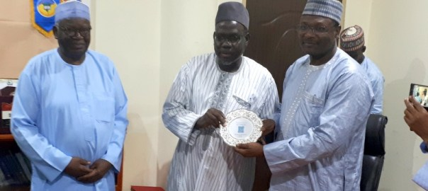 L-R: Pro Chancellor and Chairman of Council, Bayero University, Kano (BUK), Prof. Ibrahim Gambari, Vice Chancellor, Prof. Muhammad Yahuza Bello and Chairman, Independent National Electoral Commission (INEC), Prof. Mahmood Yakubu after a meeting in the Vice Chancellor's office on August 6, ahead of the INEC Youth Votes Count Campus Outreach Initiative, held at the University on August 7, 2018.