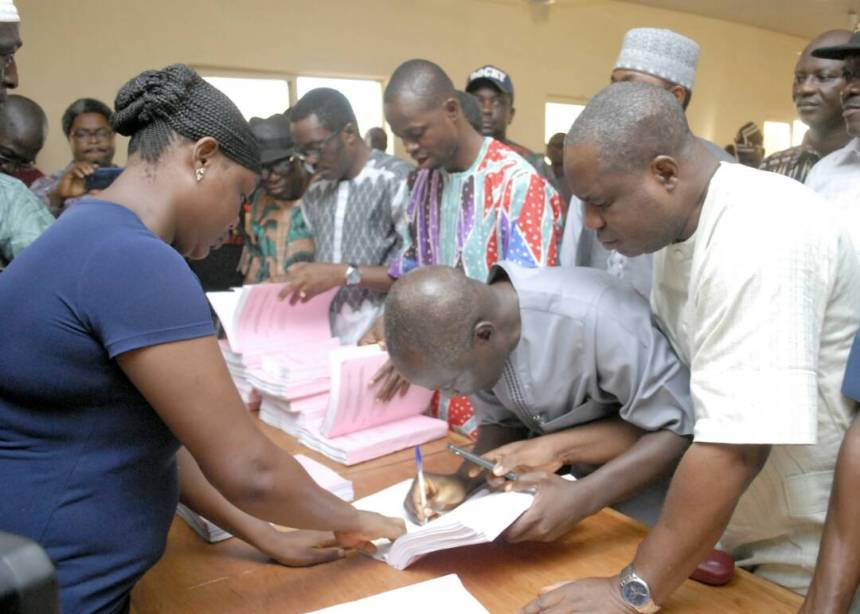 The Ekiti State Deputy Governor and Peoples Democratic Party (PDP) governorship candidate in the July 14 Ekiti governorship election, Professor Kolapo Olusola (middle) filing his petition at the Ekiti State Governorship Election Petition Tribunal in Ado Ekiti on Friday