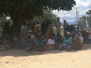 Women at Speaker Dogara's polling unit assembled under tree shades - won't leave until their casted votes are counted