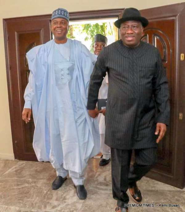Senate President, Bukola Saraki meets Former President, Goodluck Jonathan