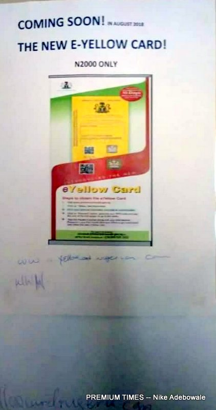 Pictures of the newly introduced yellow card obtained for N2,000