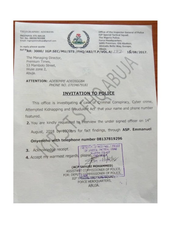 See the police letter containing totally fabricated allegations against a Premium Times reporter.