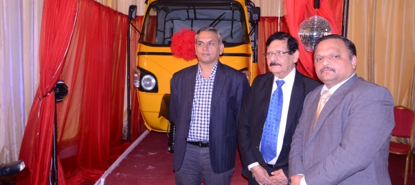 L-R: Head, Customer Care International Operations, Mahindra Limited, Mr. Krishnamurthy Ravi; Group Managing Director, Geepee Industries Limited, Mr Murli Valecha; and Managing Director, Mahindra West Africa Limited, Mr Prasad Sane at the official launch of 3 Wheelers Mobility Solutions for Nigeria in Lagos on Tuesday