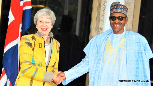 President Muhammadu Buhari (R) welcoming the visiting British Prime Minister, Theresa May at the Presidential Villa in Abuja on Wednesday (29/8/18)