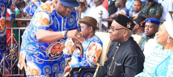Senator Bassey Albert (with a faze cap) with Governor Udom Emmanuel at the Monday rally in Onna, Akwa Ibom state