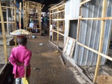 Traders reconstructing their temporary shops at Jos Main Market