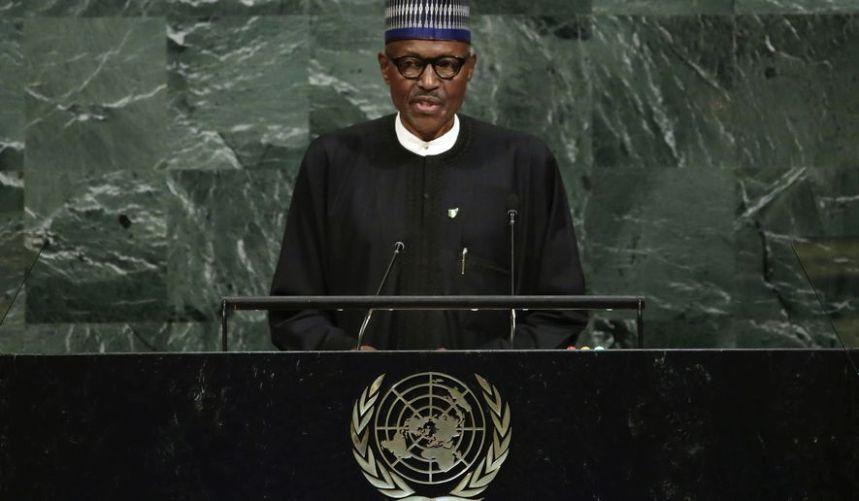 File photo of President Muhammadu Buhari at the UN General Assembly
