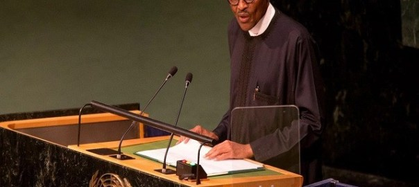 President Muhammadu Buhari addressing the UN General Assembly in 2017 [photo: Reuters]