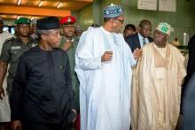 President Muhammadu Buhari, Vice-President Yemi Osinbajo and Bola Tinubu. [PHOTO CREDIT: Dailypost]