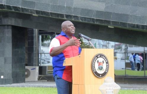 File photo of Lagos State governor, Akinwunmi Ambode addressing the press.