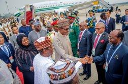 Mr Buhari has a large entourage that includes recent defectors to the APC.