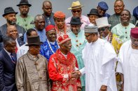 Ogoni leaders after a meeting with President Buhari at the State House today