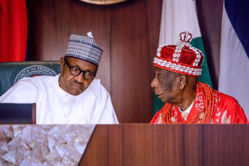 President Buhari with HRM King G.N.K. Gininwa (JP) OFR, Gbenemene Tai Kingdom and President Supreme Council of Ogoni Traditional Rulers earlier at the State House, Abuja.