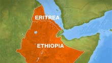 Ethiopia and Eritrea on a map used to illustrate the story. [PHOTO CREDIT: Footprint to Africa]