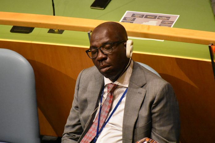 Edo State Governor, Godwin Obaseki sleeping at the UN General Assembly while President Muhammadu Buhari was addressing the UN (Photo Credit: Emmanuel Ikodor, TODAY NEWS AFRICA)