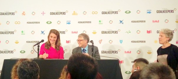 Bill and Melinda Gates at the press conference on goalkeepers event in New York