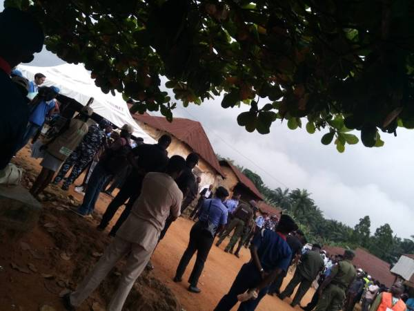 Heavily armed security operatives in a ward at Ife South LGA as voting progress.