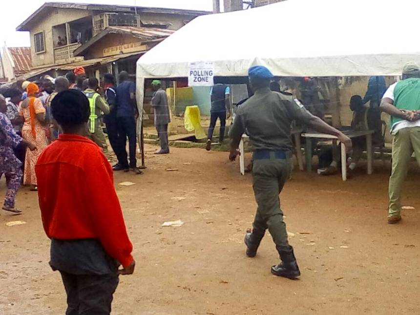 Security personnel on ground during election process.