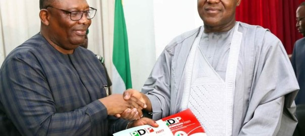 Caption: Dogara visits PDP secretariat to submit nomination form Photo Credit: Speaker's office