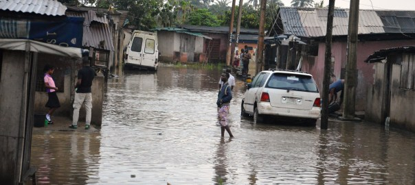 A flooded street at Bale at Ajegunle lkorodu, Lagos state [picture used to illustrate the story