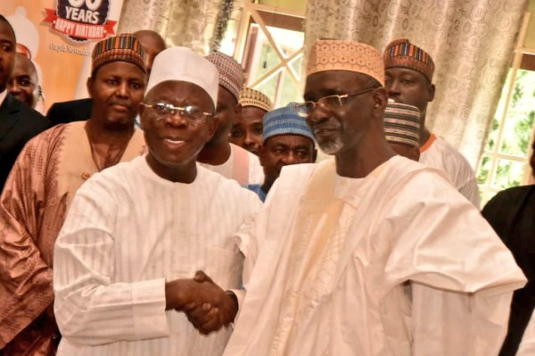 L-R Ibrahim Shekarau, Adams Oshiomhole [Photo: Punch Newspapers]