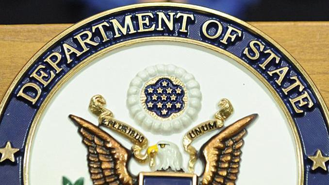 US State Dept logo used to illustrate the story.