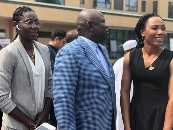Super Falcons star, Asisat Oshoala with Lagos State Governor, Akinwunmi Ambode