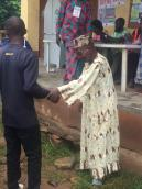 The rains is not a hindrance as electorates are seen ready to cast their votes at at ward 4, Unit 4 Ede South. However, the blind are still struggling to cast their votes.